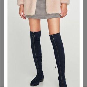 Zara Navy over the knee zip up boots
